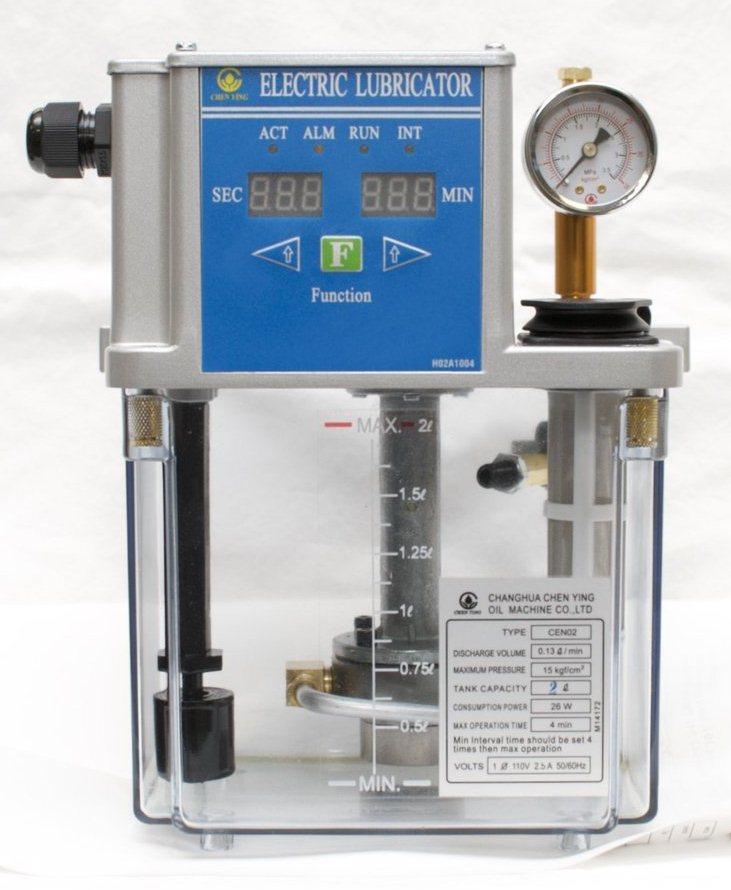 Cтанция смазки CEN02 (управление от встроенного таймера, датчик уровня масла, макс. производительность 130 см3/мин, макс. давление 15 кг/см2, объем бака от 2 до 8л, напряжение питания 110 или 220В).