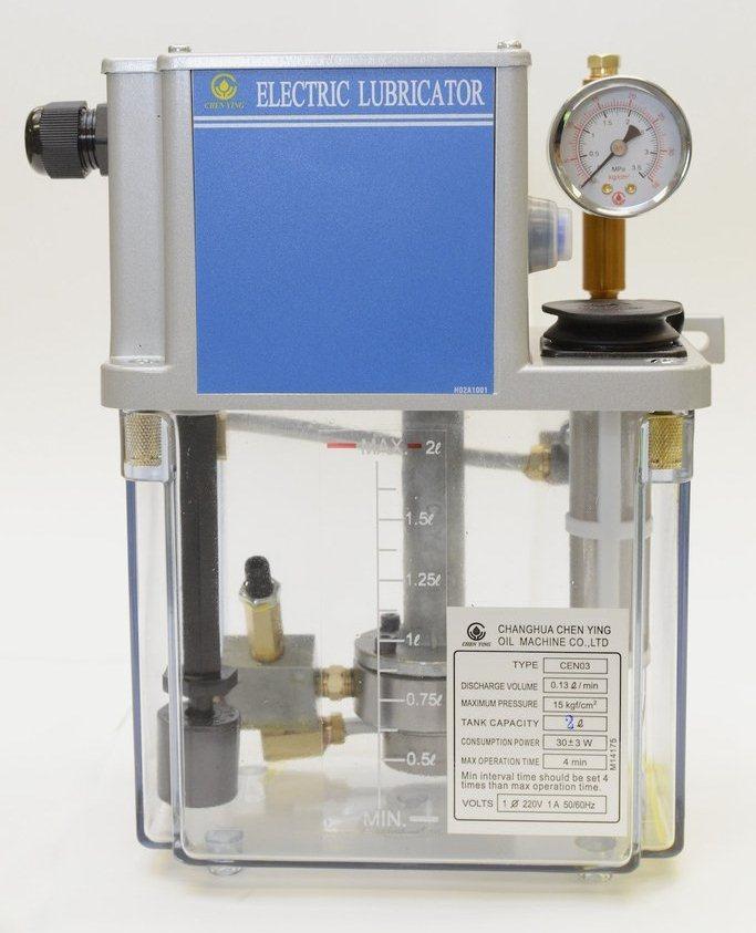 Импульсная станция смазки CEN03-03-B-3 (Управление от ЧПУ, бак пластиковый 3л, 130см3/мин, 15бар, питание 220В 50Гц, реле давления, датчик уровня, выход под трубку 6мм, манометр, рекомендуемая вязкость смазки 32-68 cSt@40°C)
